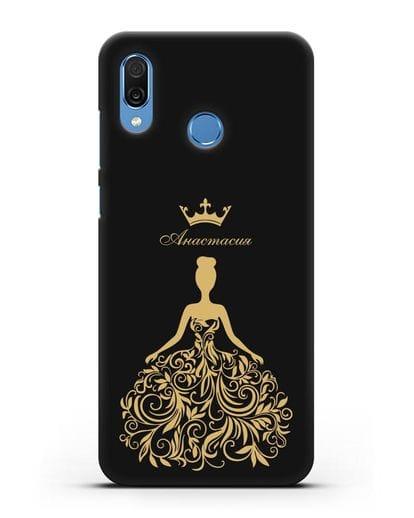 Именной чехол с иллюстрацией Принцесса с короной силикон черный для Honor Play