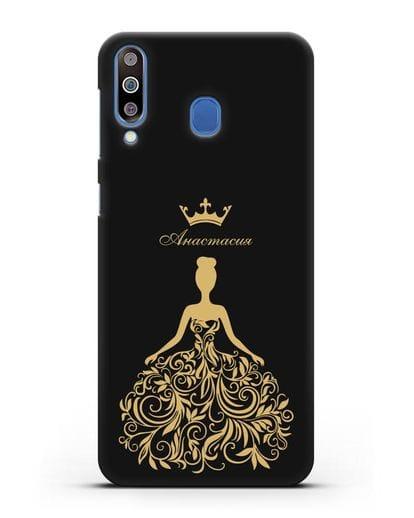 Именной чехол с иллюстрацией Принцесса с короной силикон черный для Samsung Galaxy M30 [SM-M305F]