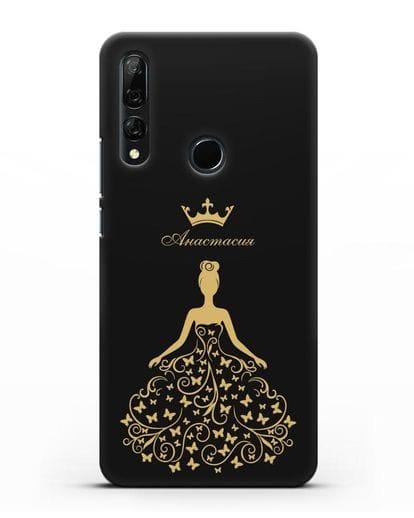 Именной чехол с изображением девушки с короной силикон черный для Honor 9X