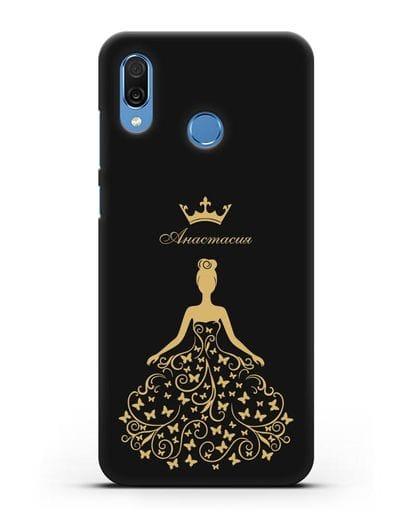 Именной чехол с изображением девушки с короной силикон черный для Honor Play
