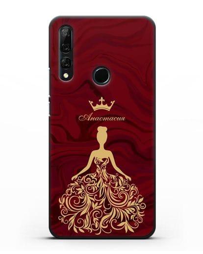 Именной чехол с иллюстрацией принцессы и короной красный мрамор силикон черный для Honor 9X