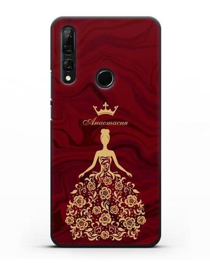 Чехол с иллюстрацией принцессы и именем красный мрамор силикон черный для Honor 9X