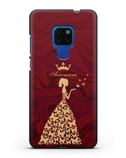 Именной чехол Принцесса и бабочки красный мрамор силикон черный для Huawei Mate 20