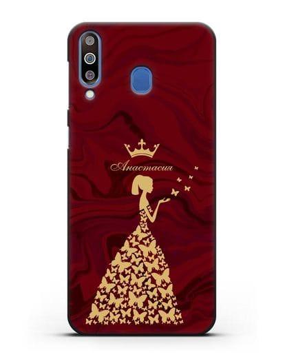 Именной чехол Принцесса и бабочки красный мрамор силикон черный для Samsung Galaxy M30 [SM-M305F]