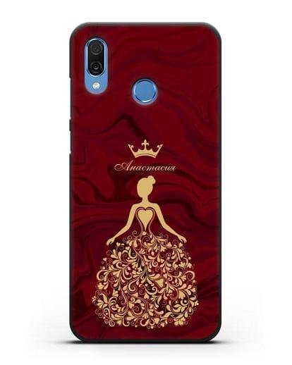 Именной чехол Принцесса с короной красный мрамор силикон черный для Honor Play
