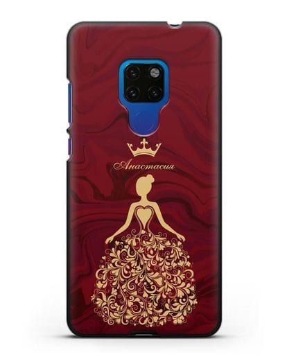 Именной чехол Принцесса с короной красный мрамор силикон черный для Huawei Mate 20