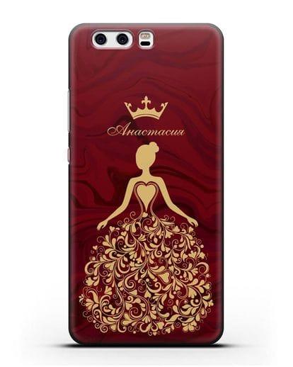 Именной чехол Принцесса с короной красный мрамор силикон черный для Huawei P10 Plus