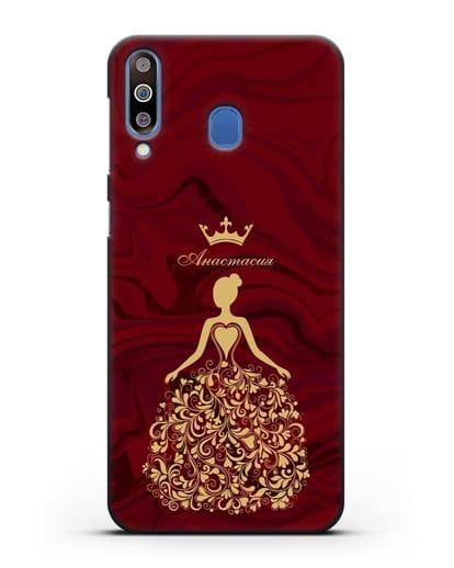 Именной чехол Принцесса с короной красный мрамор силикон черный для Samsung Galaxy M30 [SM-M305F]