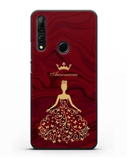 Именной чехол с изображением девушки с короной красный мрамор силикон черный для Honor 9X