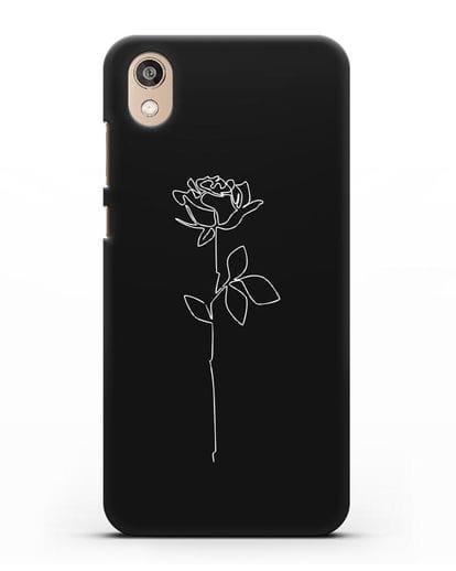 Чехол с рисунком одной линией Роза силикон черный для Honor 8S