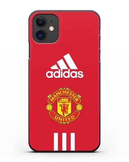 Чехол Manchester United Adidas силикон черный для iPhone 11