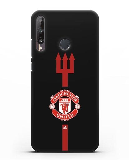 Чехол Манчестер Юнайтед с трезубцем силикон черный для Huawei P40 lite E