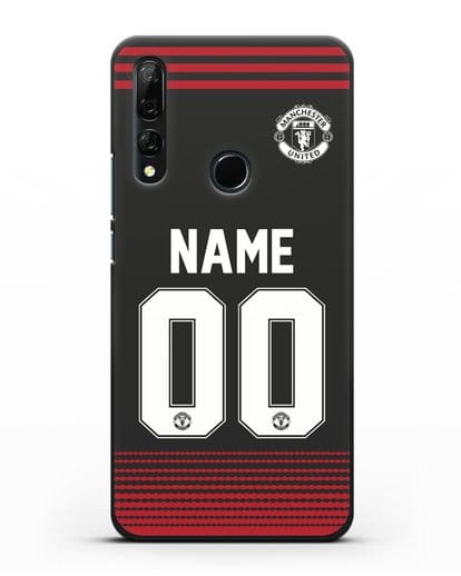 Именной чехол Манчестер Юнайтед с фамилией и номером (сезон 2018-2019) черная форма силикон черный для Honor 9X