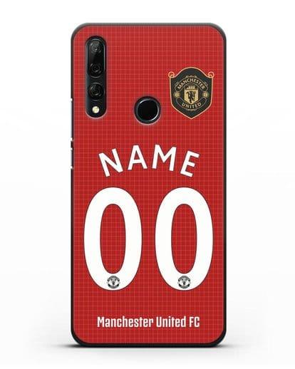 Именной чехол Манчестер Юнайтед с фамилией и номером (сезон 2019-2020) красная форма силикон черный для Honor 9X