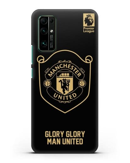 Чехол с золотым логотипом Manchester United с надписью GLORY, GLORY MAN UNITED силикон черный для Honor 30