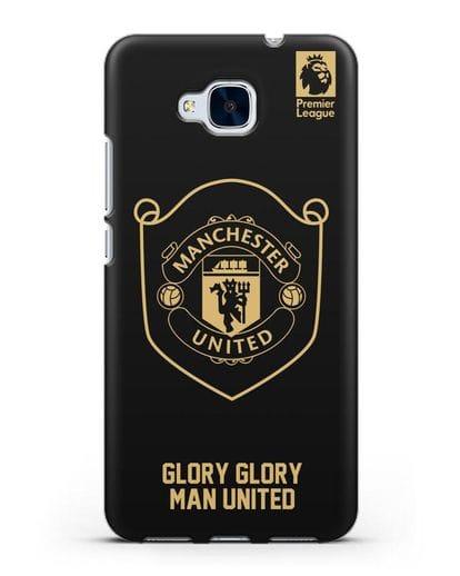 Чехол с золотым логотипом Manchester United с надписью GLORY, GLORY MAN UNITED силикон черный для Honor 5C