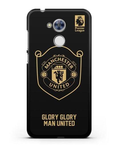 Чехол с золотым логотипом Manchester United с надписью GLORY, GLORY MAN UNITED силикон черный для Honor 6A