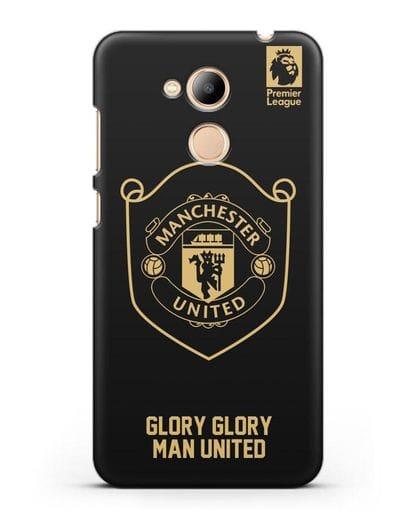 Чехол с золотым логотипом Manchester United с надписью GLORY, GLORY MAN UNITED силикон черный для Honor 6C Pro