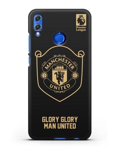 Чехол с золотым логотипом Manchester United с надписью GLORY, GLORY MAN UNITED силикон черный для Honor 8X