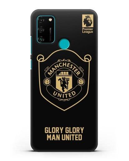 Чехол с золотым логотипом Manchester United с надписью GLORY, GLORY MAN UNITED силикон черный для Honor 9A