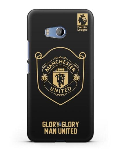 Чехол с золотым логотипом Manchester United с надписью GLORY, GLORY MAN UNITED силикон черный для HTC U11
