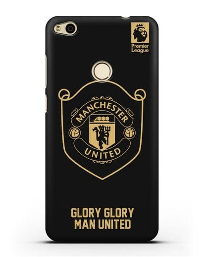 Чехол с золотым логотипом Manchester United с надписью GLORY, GLORY MAN UNITED силикон черный для Huawei P8 Lite 2017