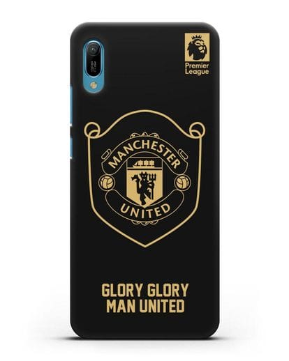 Чехол с золотым логотипом Manchester United с надписью GLORY, GLORY MAN UNITED силикон черный для Huawei Y6 2019