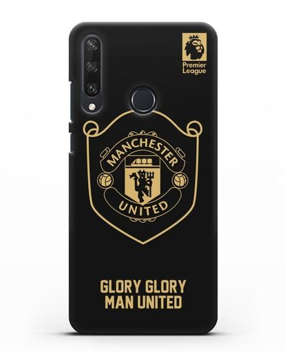 Чехол с золотым логотипом Manchester United с надписью GLORY, GLORY MAN UNITED силикон черный для Huawei Y6P
