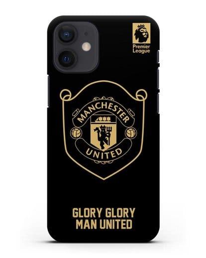 Чехол с золотым логотипом Manchester United с надписью GLORY, GLORY MAN UNITED силикон черный для iPhone 12 mini