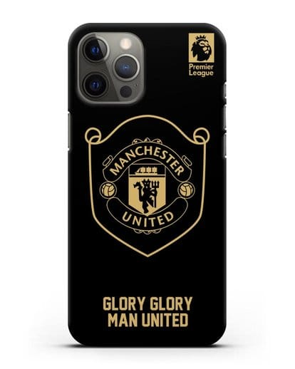 Чехол с золотым логотипом Manchester United с надписью GLORY, GLORY MAN UNITED силикон черный для iPhone 12 Pro Max