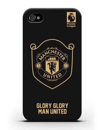Чехол с золотым логотипом Manchester United с надписью GLORY, GLORY MAN UNITED силикон черный для iPhone 4/4s