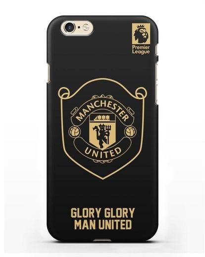 Чехол с золотым логотипом Manchester United с надписью GLORY, GLORY MAN UNITED силикон черный для iPhone 6s
