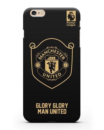 Чехол с золотым логотипом Manchester United с надписью GLORY, GLORY MAN UNITED силикон черный для iPhone 6 Plus