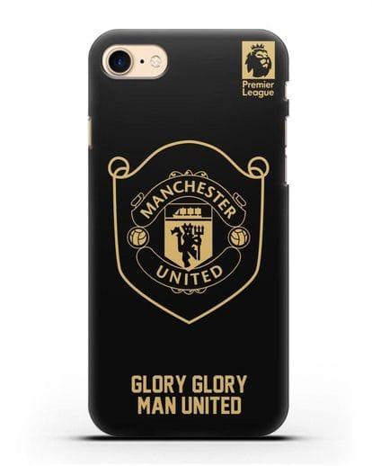Чехол с золотым логотипом Manchester United с надписью GLORY, GLORY MAN UNITED силикон черный для iPhone SE 2020