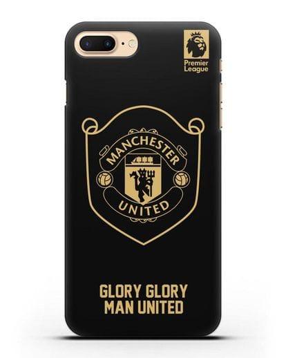 Чехол с золотым логотипом Manchester United с надписью GLORY, GLORY MAN UNITED силикон черный для iPhone 7 Plus