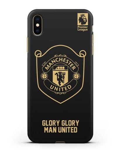 Чехол с золотым логотипом Manchester United с надписью GLORY, GLORY MAN UNITED силикон черный для iPhone XS Max