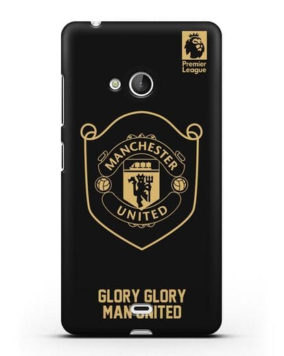 Чехол с золотым логотипом Manchester United с надписью GLORY, GLORY MAN UNITED силикон черный для Microsoft Lumia 540