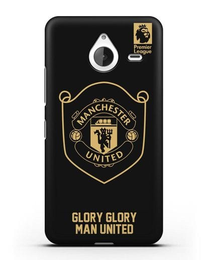Чехол с золотым логотипом Manchester United с надписью GLORY, GLORY MAN UNITED силикон черный для Microsoft Lumia 640 XL