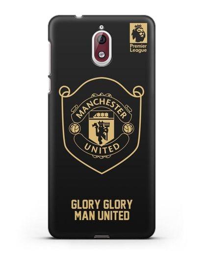 Чехол с золотым логотипом Manchester United с надписью GLORY, GLORY MAN UNITED силикон черный для Nokia 3.1