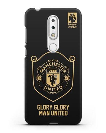 Чехол с золотым логотипом Manchester United с надписью GLORY, GLORY MAN UNITED силикон черный для Nokia 6.1 plus