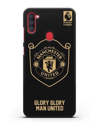 Чехол с золотым логотипом Manchester United с надписью GLORY, GLORY MAN UNITED силикон черный для Samsung Galaxy A11 [SM-A115F]