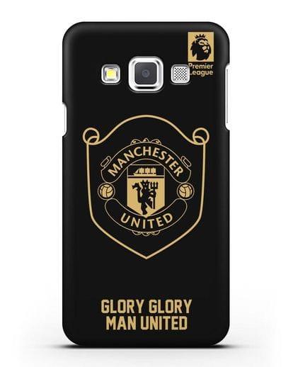Чехол с золотым логотипом Manchester United с надписью GLORY, GLORY MAN UNITED силикон черный для Samsung Galaxy A3 2015 [SM-A300F]