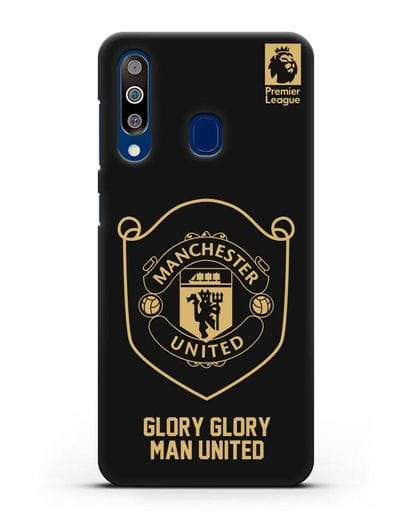Чехол с золотым логотипом Manchester United с надписью GLORY, GLORY MAN UNITED силикон черный для Samsung Galaxy A60 [SM-A606F]