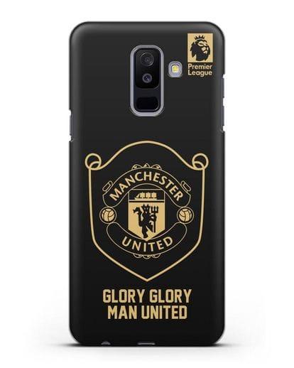 Чехол с золотым логотипом Manchester United с надписью GLORY, GLORY MAN UNITED силикон черный для Samsung Galaxy A6 Plus 2018 [SM-A605F]