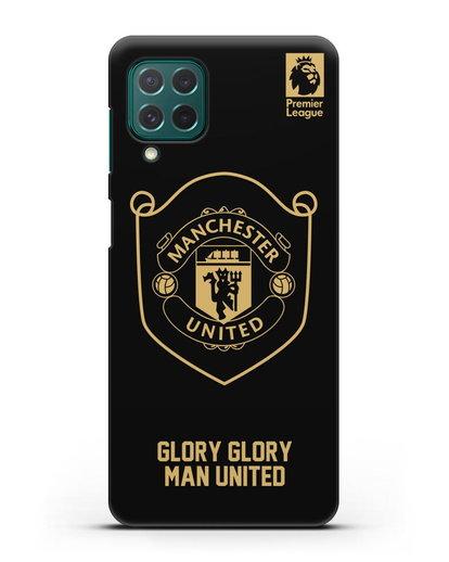 Чехол с золотым логотипом Manchester United с надписью GLORY, GLORY MAN UNITED силикон черный для Samsung Galaxy M62 [SM-M625F]