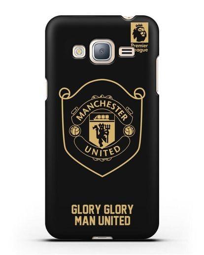Чехол с золотым логотипом Manchester United с надписью GLORY, GLORY MAN UNITED силикон черный для Samsung Galaxy J3 2016 [SM-J320F]