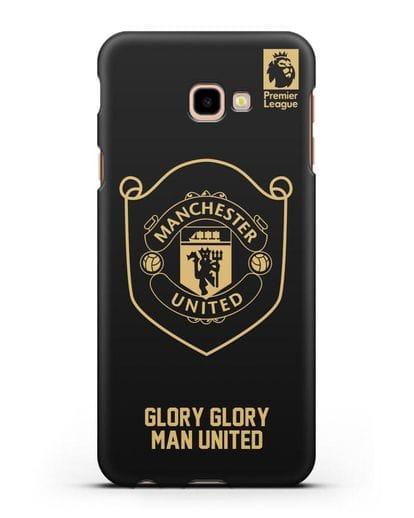 Чехол с золотым логотипом Manchester United с надписью GLORY, GLORY MAN UNITED силикон черный для Samsung Galaxy J4 Plus [SM-J415]