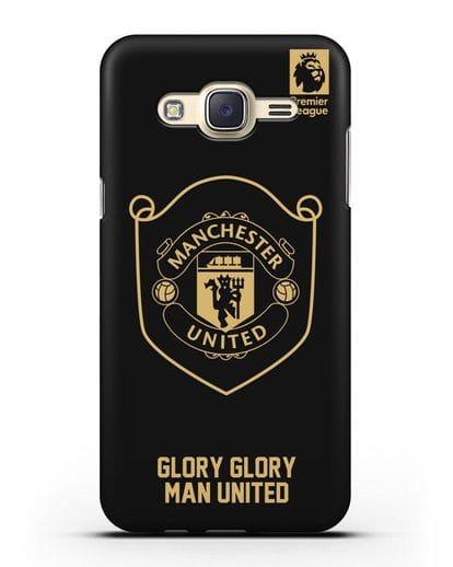 Чехол с золотым логотипом Manchester United с надписью GLORY, GLORY MAN UNITED силикон черный для Samsung Galaxy J7 2015 [SM-J700H]