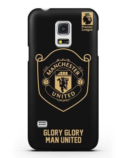 Чехол с золотым логотипом Manchester United с надписью GLORY, GLORY MAN UNITED силикон черный для Samsung Galaxy S5 Mini [SM-G800F]