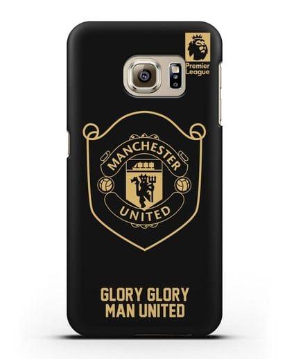 Чехол с золотым логотипом Manchester United с надписью GLORY, GLORY MAN UNITED силикон черный для Samsung Galaxy S6 Edge Plus [SM-928F]